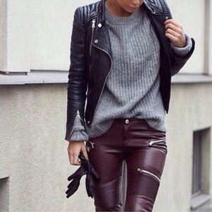 Zara Pants - Zara Faux Suede Leather Biker Pants